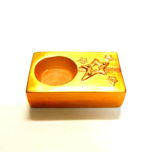 Amber Orange Rectangular Glitter Star Tealight Holder