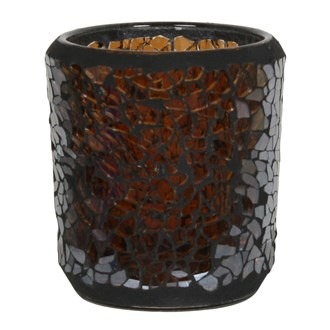 Chocolate Lustre Crackle Mosaic Sampler Holder