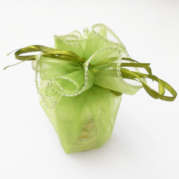 Wedding Favour - Lime Green Medium Wrap silver trim
