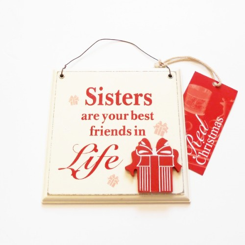 Sisters Wooden Hanging Plaque - Red