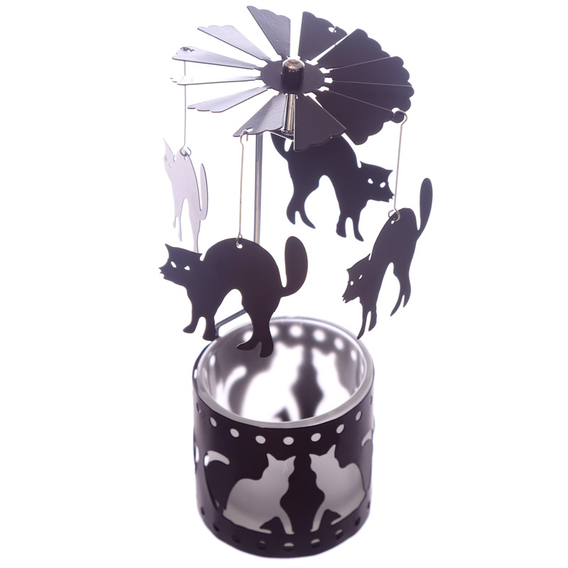 Halloween Cat Tealight Powered Metal Spinning Metal Decoration