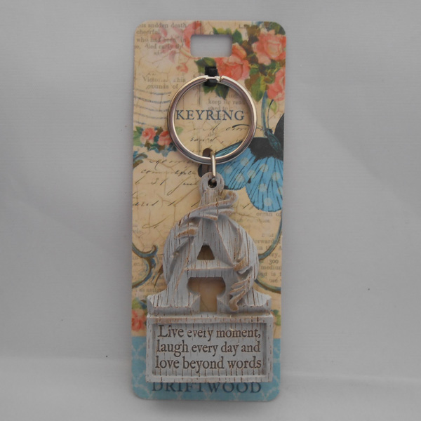 Letter A Driftwood Keyring - Live every moment ....