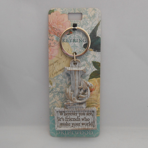 Letter I Driftwood Keyring - Wherever you are ....