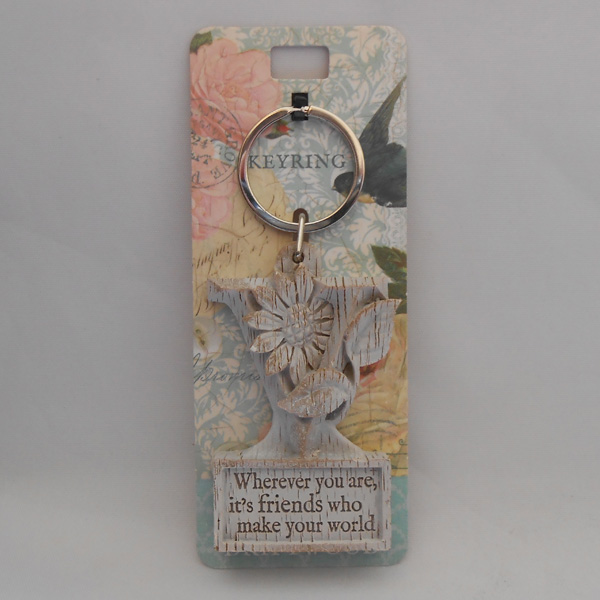 Letter V Driftwood Keyring - Wherever you are ....