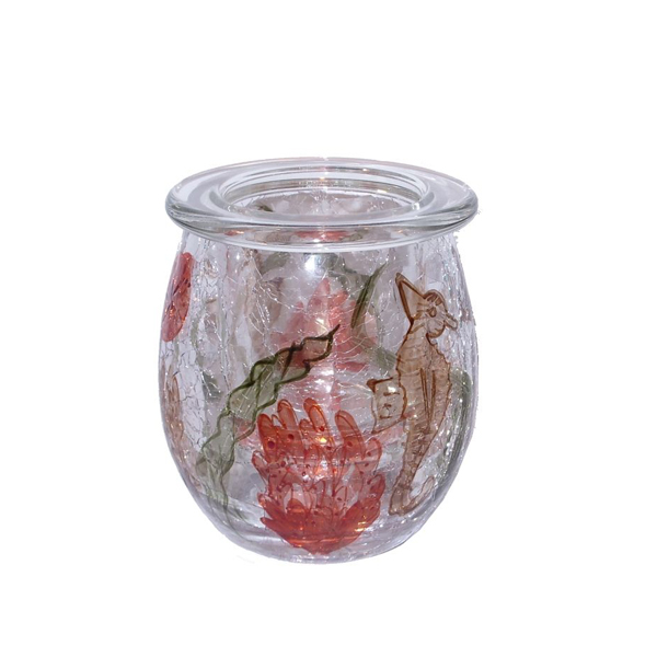 Coral Crackle Short Tealight Holder