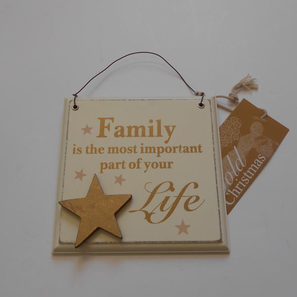 Family Wooden Hanging Plaque - Gold